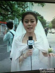 A Yan'an TV journalist, whose wedding took place on April 20, left her ceremony to report on the earthquake. Yan'an is the epicentre of yesterday's 6.6 to 7.0 magnitude earthquake. It's in Lushan country in Sichuan province. That's at least 20 hours on the overnight train from me. Chengdu felt shocks.