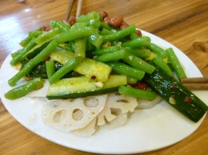 Liangcai including lotus root, green bean, cucumber, and boiled peanuts. Photo: ZJ