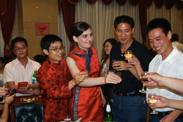 Toasting Jun's close friends and classmates.
