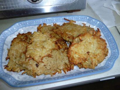 Latkes at Hanukkah Party hosted with friend Linda's help, Xi'an 2011